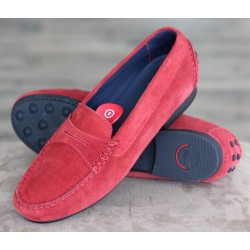 Sioux Loana red suede moccasin