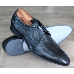 Sulka black patent 3 eye derby