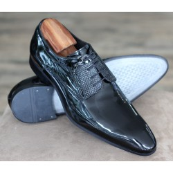 Sulka black patent 4 eye derby