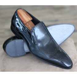 Sulka black brogue slip on